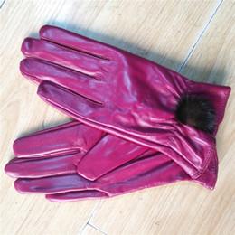 Classic Women's Leather Gloves Pure Sheepskin Hair Mask Accessories Waterproof Wear Resistant Warming Adult Women's Gloves