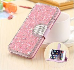 Wholesale Luxury Full Body Bling Diamond Flip Leather Wallet Case Silk Pattern Card Slot Stand Holder Cover For iPhone s s s Plus Samsung S6 S7