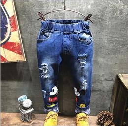 Wholesale 2016 New Boys Girls Cartoon Ripped Jeans Children Mickey Mouse Cowboy Pants Kids Frame Denim Pants Fashion Boy Girl Korean Style Trousers