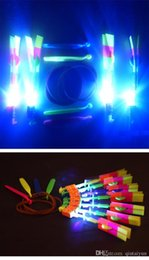 Wholesale LOWER PRICE LED Light Flash Flying Elastic Powered Arrow Sling Shoot Up Helicopter helicopter umbrella kids toy IN STOCK y91