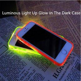 Acheter en ligne Cas transparents pour iphone 4s-IPhone 7 Lumineux Lumière Up Glow In The Dark Case Transparent Cristal Transparent Soft TPU Cases Housse de protection pour iPhone 4s 5s 5c 6 6s plus