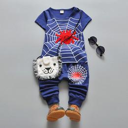 Spiderman ensembles de vêtements d'été en Ligne-Boy Summer Vêtements Ensembles Motif Spiderman T-shirt à manches courtes + Pantalons Affaissement Enfants Loisirs Deux pièces Costumes Tracksuits Toddler Tenues K108