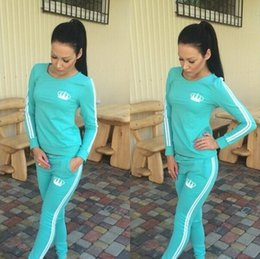 Wholesale Real Picture Crown Women s Sets Long Sleeve O neck Sportsuit Tracksuit Pieces Hoodies Hit color suit Trousers