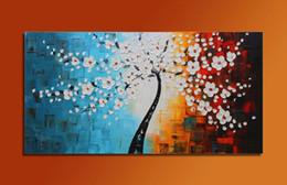 Купить Онлайн Цветковые деревья-Нет кадров Большой холстины Ручная роспись Life Tree Oil Pairting Современные абстрактного искусства цветка декора стены 48inchx24inch