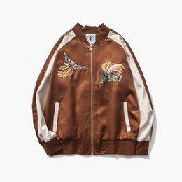 Wholesale New Brand Fashion Streetwear Yokosuka embroidery jacket Chinese Phoenix embroidery Vintage Panelled Color Baseball wear M L XL