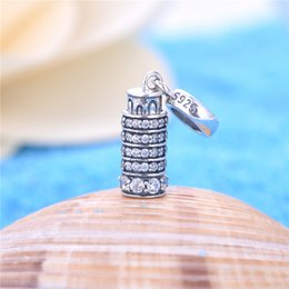 Wholesale The Leaning Tower of Pisa in Italy silver jewelry charms Travel fit bracelets for women beads free ship No95 S172