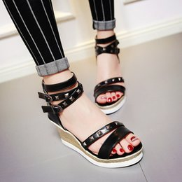 2016 Big size 34-43 high wedge heel platform solid open toes metal rivets cross-tied buckle strap lady casual shoes women Roman sandals 28-8