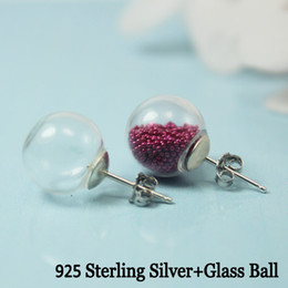 Wholesale Glass Ball Sterling Silver Earring Glass Globe earring Hollow Glass hand blown charming handmade sterling silver back