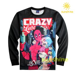 Wholesale 2016 August new arrival D print Deadpool hoodie womens mens cool sweatshirts sizes high quality inc bargain price