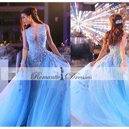 Robe De Soirre Sexy Blue Color Appliques Sheer Evening Dresses Detachable Train Tulle Prom Dresses