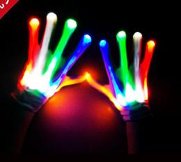 Wholesale Flashing Finger Lighting Gloves Halloween Christmas dance fancy dress LED Colorful Rave magic Gloves Light show filler bag gift