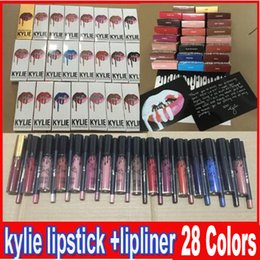 Wholesale Latest KYLIE JENNER LIP KIT liner Kylie Lipliner pencil Velvetine Liquid Matte Lipstick in Red Velvet Makeup Lip Gloss Make Up colors