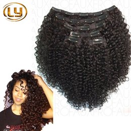 Wholesale African American Clip in Human Hair extension Full Head A Brazilian Hair Afro Kinky Curly Clip In Extension Black Women Brazilian Hair