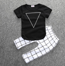Wholesale Hot fashion new baby clothing piece set triangle black t shirt plaid pants USA INS M M M T T T Toddler home outwear clothes
