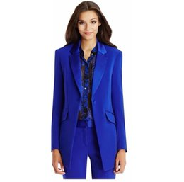 Wholesale Suit Elegant Ladies - Autumn Winter Office Lady Blazer Women's Jacket Basic Elegant Ladies Office Royal Blue Pant Suits Two Piece Custom Made Suit