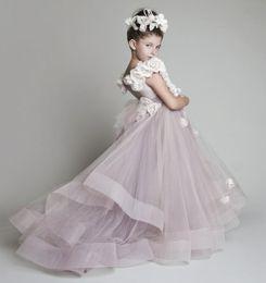 Flower Girl Dresses For Weddings New Tulle Ruffled Handmade Flowers One shoulder Pageant Dresses For Little Girls Glitz Kids Prom Dresses