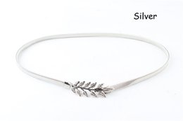 Wholesale summer style Vintage Women Belt Leaf Design Clasp Front Stretch Metal Waist Belt Skinny Elastic Ceinture Mujer Gold Silver ZA0114