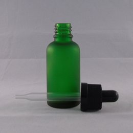 Colorful 30ml Empty Green Frosted E Liquid Glass Dropper Bottles with Child Proof Bottle caps E liquid Free shipping