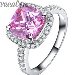 Vecalon fashion ring Cushion cut 3ct Pink Cz diamond Engagement wedding Band ring for women 925 Sterling Silver Finger ring R357