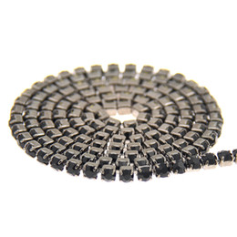 Wholesale Jet Black Base Strass Rhinestones Chains Copper Cup Chain Glass Pointed Back Sewing Chatons Trims Appliques For Crafts Garments