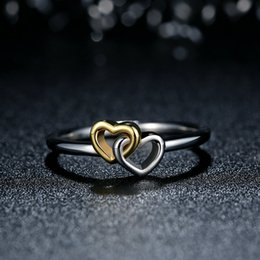 Heart to Heart Genuine 925 Sterling Silver Rings Interlocked Hearts with 14k Gold Plated Fashion Promise Engagement Wedding Rings R078