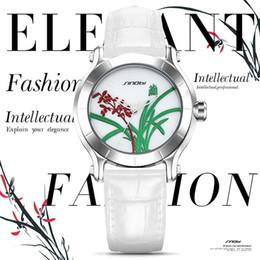 Wholesale China Brand Women Watches - SINOBI New Orchid Elegant Women Watches For China Brand Ladies White Leather Wristwatch Waterproof Female Clock Kadin Saatler
