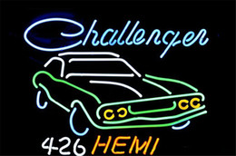 Wholesale NEON SIGN BIG Dodge Challenger RT Hemi AUTO DEALER Custom Store Display Beer Bar Pub Club Lights Signs Shop Decorate Real Glass Tube Bulbs