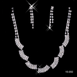 15050 Hot Sale In Stock Cheap Shinning Rhinestone Wedding Party Earring Bracelet Necklace Ring Jewel Set for Women Prom Evening Free Ship