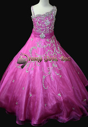 2016 Spring New Girl's Pageant Dresses Asymmetrical Collar Glitter Crystal Mosaic Tulle Ball Gown Birthday Wedding Kids Flower Dresses