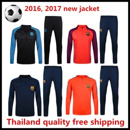 Wholesale high quality pack Barcelona training set long sleeved uniform trousers welcome to order