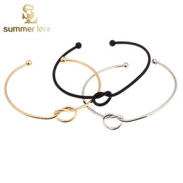 Wholesale 2016 New Fashion Original Design Simple Copper Casting Knot Love Bracelet Open Cuff Bangle Gift For Women