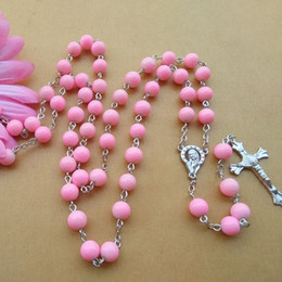 Fashion Religious Jewelry Accessories Long New Design 8mm Beads Pink Glass Metal Cross Rosary Necklace Wholesale
