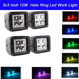 4pcs Led Work Light 12W with Halo Ring Angle Eyes LED Spot Light For Off road SUV Boat 4x4 Jeep Truck Lamp