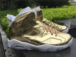 Wholesale With Correct Box Drop Shipping Retro Pinnacle Metallic Gold For Men Basketball Sport Shoes Size Ship With Box