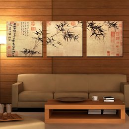 Wall decoration 3 Pieces no frame art picture free shipping Canvas Prints chinese characters poetry Calligraphy Bamboo stone Lotus Dragon