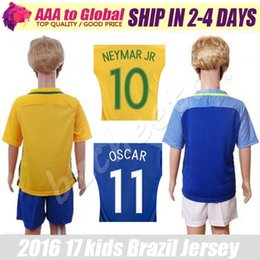Wholesale Brazil Kids kit Camisa de futebol Brasil football shirt DAVID LUIZ D COSTA NEYMAR JR OSCAR WILLIAN Brazil boy Home Away jerseys