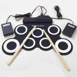 2017 batterie électronique pad ensemble Vente en gros-Professional 7 Pad numérique USB MIDI Portable portable Silicone musical batterie réglable avec Stick Roll-up de haute qualité promotion batterie électronique pad ensemble