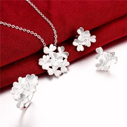 Factory direct sale 925 sterling silver Flower Set jewelry sets DFMSS795 wedding high grade 925 silver necklace earring ring
