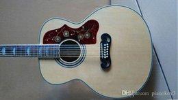 Acoustique de érable flammé à vendre-Hot guitare vente acoustique, table en épicéa massif, 43 pouces OEM 12string acoustique guitare électrique Jumbo main, érable flammé arrière et latérale