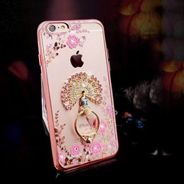 Wholesale Luxury Bling Diamond Ring Holder Phone Case Crystal Flexible TPU Cover for Iphone s plus with Kickstand