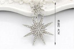Earrings for women big geometry stud earrings octagonal edge star full of crystal earrings