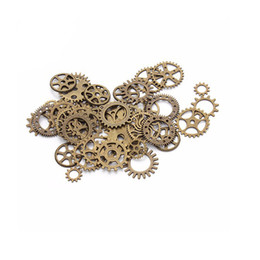 Wholesale Mix 100pcs Vintage Mixed Colors steampunk Charms Gear Pendant Fit Bracelets Necklace DIY Metal Jewelry Making F0206