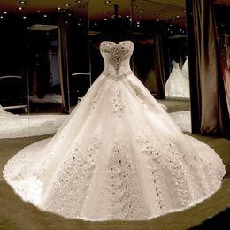 2016 Wedding Dresses Han Edition Bride Diamond High-End Luxury Big Trailing Custom Ivory White Wedding Dresses Plus Size Wedding Dresses