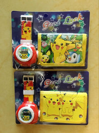 Wholesale New style in Cartoon poke pikachu Frozen Sets PU Wallet Purse Wrist Watches Christmas Children Gift E1299