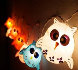 Wholesale Night Lights Owl Lamp Hanging Lights Handmade paper Owl for Childern Bedroom Decoration Lights set
