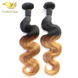 Factory Two Tone Color Peruvian Malaysian Indian Brazilian Ombre Human Hair Extensions T1B 27 Hair Weaving