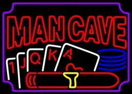 Wholesale man cave J Q K A POKER neon sign real glass tube display beer bar handicraft signs light CLUB store