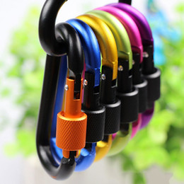 Wholesale Assorted Colors D Shape Spring loaded Gate Aluminum locking Carabiner for Home Rv Camping Fishing Hiking Traveling and Keychain