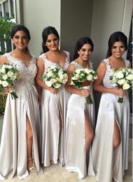 New Arrival Front Split Long Bridesmaid Dress Jewel Neck Long Elegant Bridesmaids Dresses Lace Appliques Cheap Bridesmaid Dress 2019