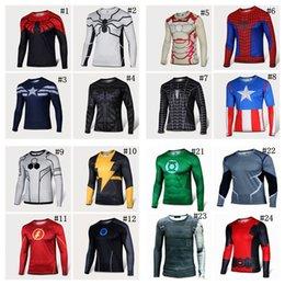 Wholesale 2016 Batman Spiderman Ironman Superman Captain America Avengers Costume Superhero Soldier Mens Long T shirt T shirts for men BY DHL